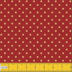 Tecido Tricoline Vermelho Poá Pequeno Dourado