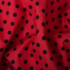 Tecido Tricoline Vermelho Poá Grande Preto