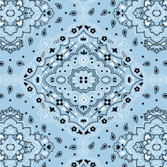 Tecido Bandana Azul Tricoline