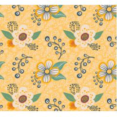 Tecido Tricoline Amarelo Floral  Fabricart