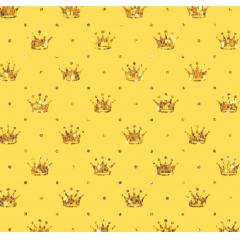 Tecido Tricoline Amarelo Poá e Coroas Douradas