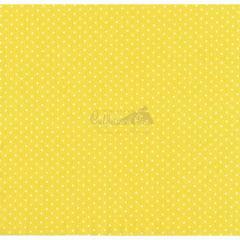 Tecido Tricoline Amarelo Poá Pequeno Branco