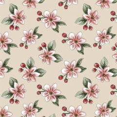 Tecido Tricoline  Anita Catita Nude Apple Blossom