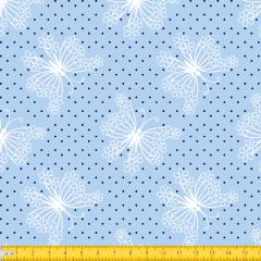 Tecido Tricoline Azul Bebê  Borboleta Floral