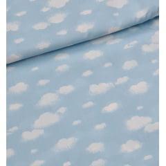 Tecido Tricoline Azul Bebê Nuvem