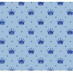 Tecido Tricoline Azul Bebê Poá e Coroas Azul Metálico