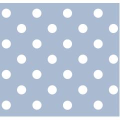 Tecido Tricoline Azul Bebê Poá Grande Branco