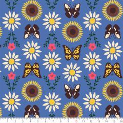 Tecido Tricoline Azul Borboleta Flores Ref:7130