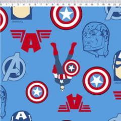 Tecido Tricoline Azul Capitão América