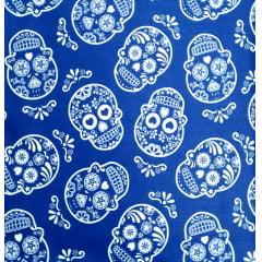 Tecido Tricoline Azul  Caveiras Braca  Mexicana
