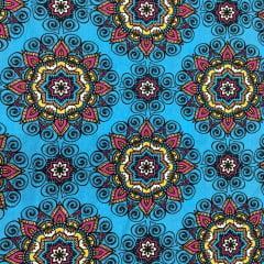 Tecido Tricoline Azul Claro  Mandala