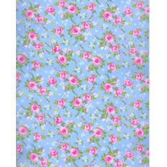 Tecido Tricoline  Azul  Flores Rosas