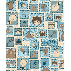 Tecido Tricoline Azul Infantil