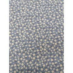 Tecido Tricoline Azul Jeans Florzinhas Brancas