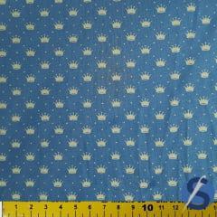 Tecido Tricoline Azul Jeans Poá e Coroas