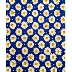 Tecido Tricoline Azul Margaridas