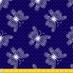 Tecido Tricoline Azul Marinho  Borboleta Floral