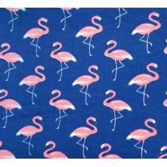 Tecido Tricoline Azul Marinho Flamingo Rosa