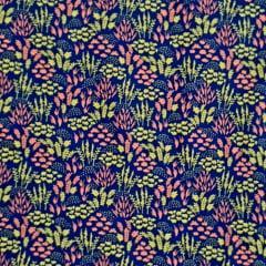 Tecido Tricoline Azul Marinho Floral Amarelo