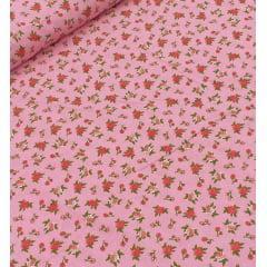 Tecido Tricoline  Rosa Floral Ref : 6324