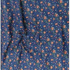 Tecido Tricoline Azul Marinho Floral Vermelho  Ref :01317