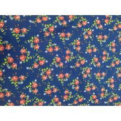 Tecido Tricoline Azul Marinho Flores