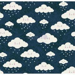 Tecido Tricoline Azul Marinho Nuvem