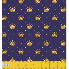 Tecido Tricoline Azul Marinho Poá e Coroas Douradas