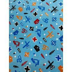 Tecido Tricoline Azul  Medicina