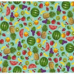 Tecido Tricoline Azul  Salada De Frutas Caldeira