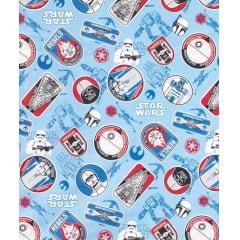 Tecido Tricoline Azul Star Wars