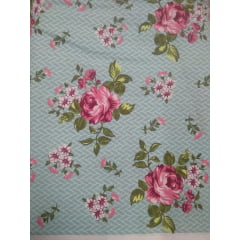 Tecido Tricoline Floral Azul Textura