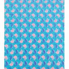 Tecido Tricoline Azul Turquesa  Baleia