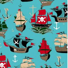 Tecido Tricoline Azul Turquesa Navios Piratas