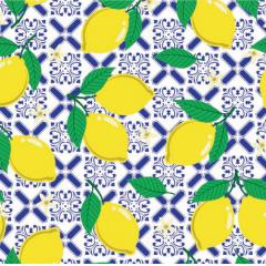 Tecido Tricoline Azulejo e Limão Siciliano