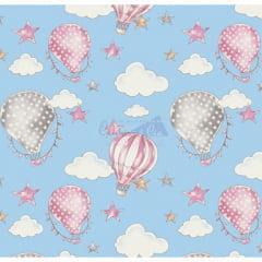 Tecido Tricoline Ballon Azul com Rosa