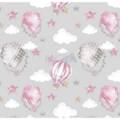 Tecido Tricoline Ballon Cinza com Rosa