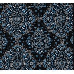 Tecido Tricoline Bandana Preto Com Azul