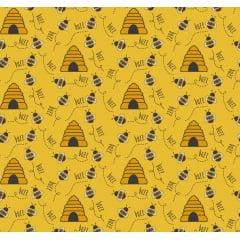 Tecido Tricoline Bee Buzz Mostarda