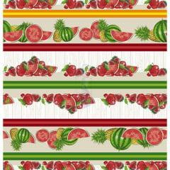Tecido Tricoline Bege Barrado de Frutas
