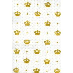 Tecido Tricoline Mista Bege Coroa Imperial Dourada