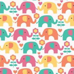 Tecido Tricoline Bege Elefantinho