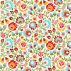Tecido Tricoline  Bege Floral Matryoska