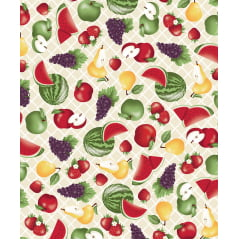 Tecido Tricoline Bege Frutas