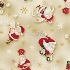 Tecido Tricoline Bege Papai Noel