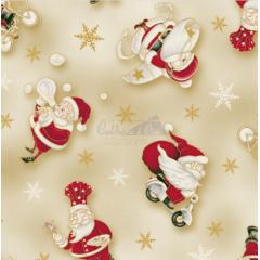 Tecido Tricoline Bege Papai Noel Natal