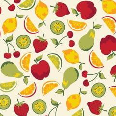 Tecido Tricoline  Bege Salada De Frutas
