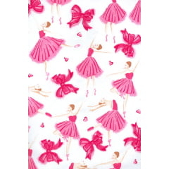 Tecido Tricoline Misto Branco Bailarina Pink