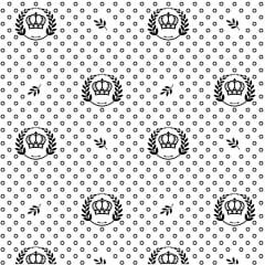 Tecido Tricoline Branco Com Coroas e Ramos Preto
