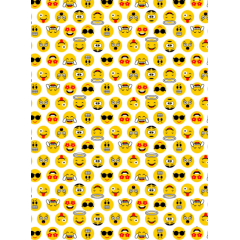 Tecido Tricoline  Branco Emojis